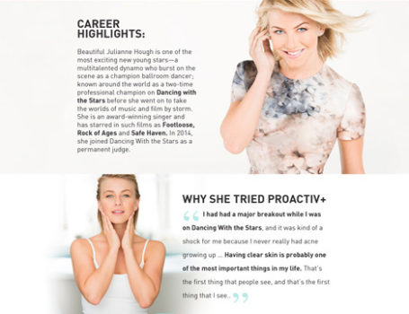 Proactiv celebrity landing pages